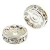 Rhinestone Rondelle (Flat Round) 9mm Silver/ Crystal